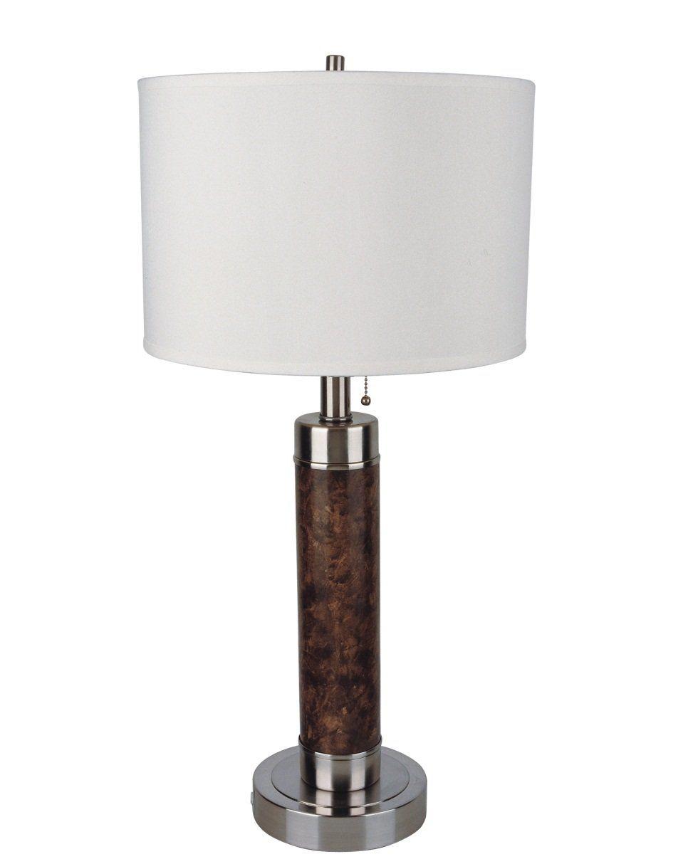 26-Inch Cylinder Table Lamp, Walnut