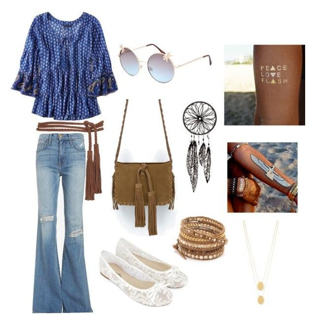 """""""Hippie Costume"""" by lilli-cupcake on Polyvore featuring American Eagle Outfitters, Current/Elliott, Accessorize, Zara, Topshop, Full Tilt, Flash Tattoos, Chan Luu and Jennifer Zeuner"""