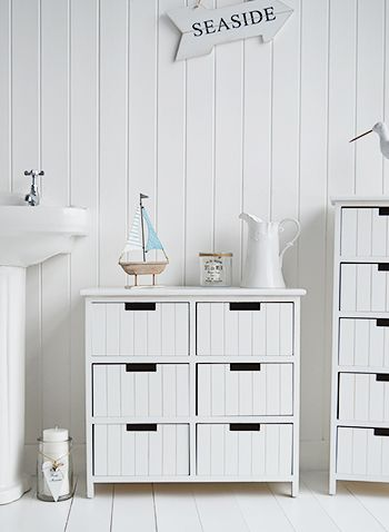 Beach Free Standing White Bathroom Cabinet Furniture With 6 Drawers New England And Coastal Style Home Decor Accessories For Your
