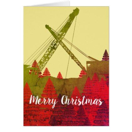 Operating engineer crane art merry christmas card construction operating engineer crane art merry christmas card construction business diy customize personalize reheart