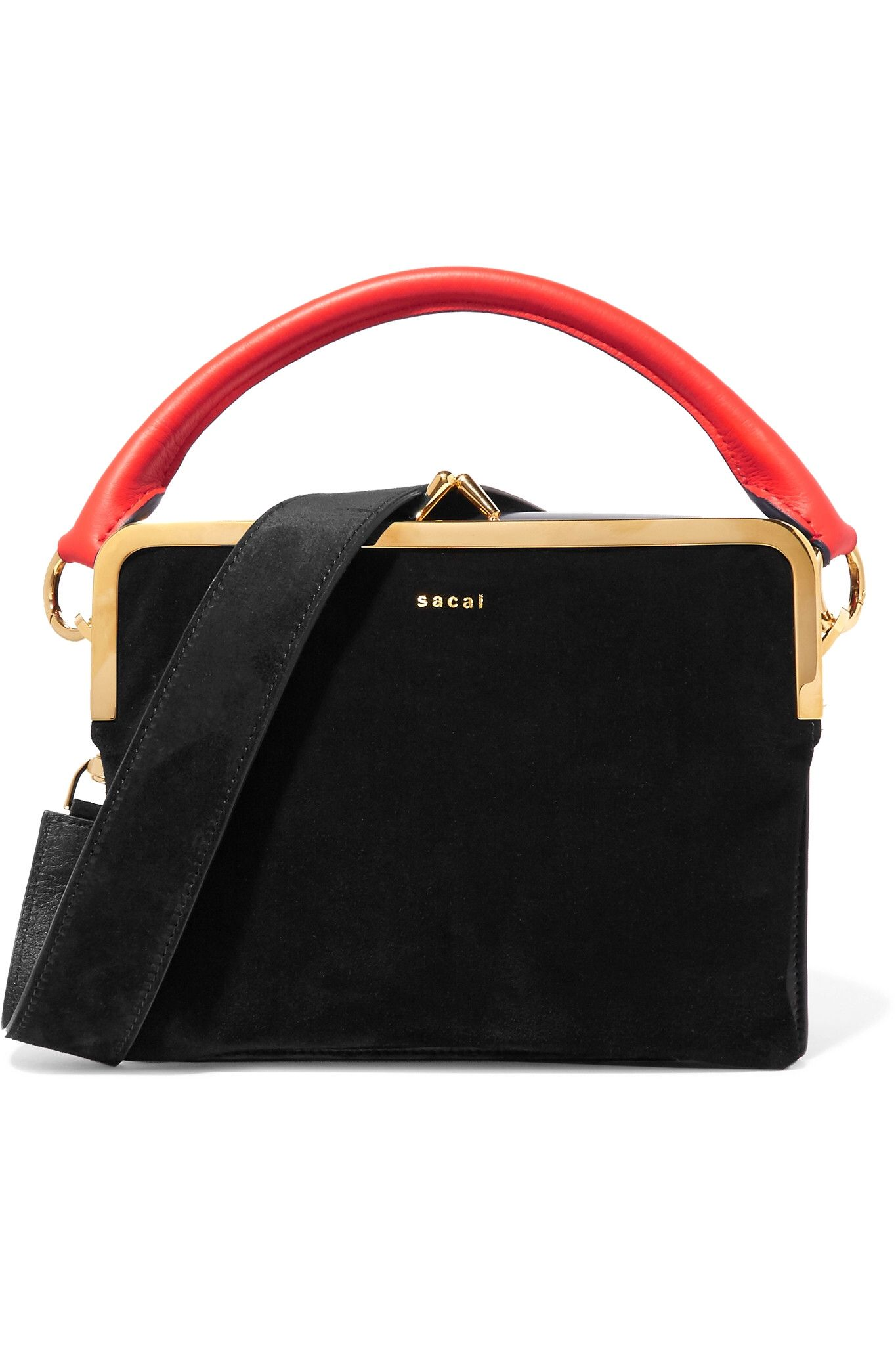 90a11f7a60 Sacai - Leather and suede shoulder bag