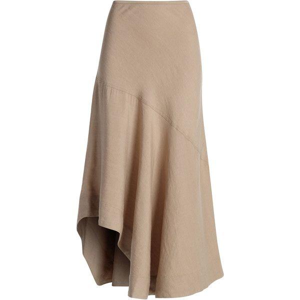 NIC+ZOE The Long Engagement Skirt (¥12,860) ❤ liked on Polyvore featuring skirts, bottoms, long skirts, faldas, maxi skirts, calf length skirts, long elastic waist skirt, linen maxi skirt, brown maxi skirt and mid calf skirts