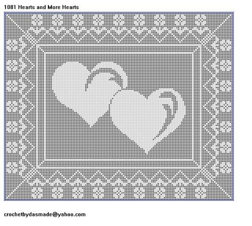 1081 Hearts And More Hearts Filet Crochet Doily Map Wall Pattern