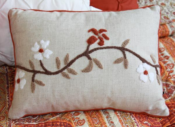 cherry blossoms signify a time of renewal and this hand hooked pillow will refresh your home pattern features hooked cherry blossoms in terra cott - Decorative Accent Pillows