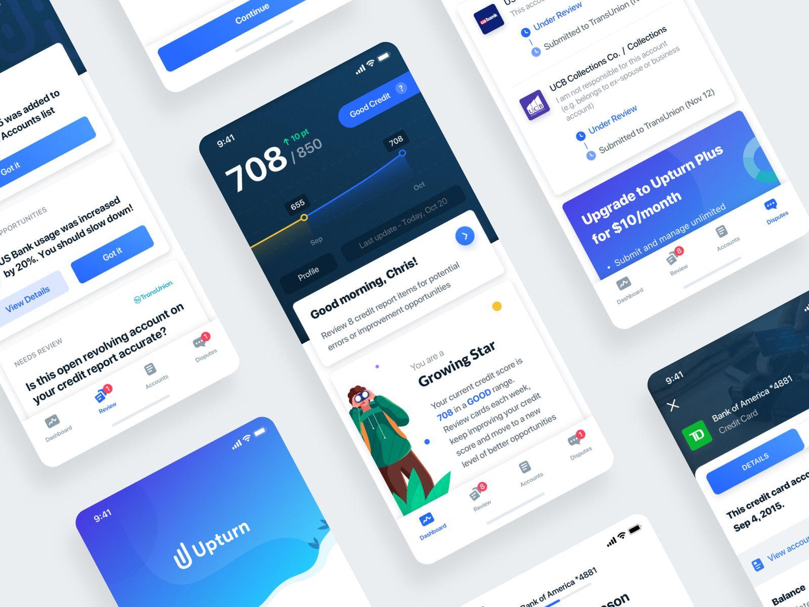 Review And Dispute Your Credit Report App Design Credit Score