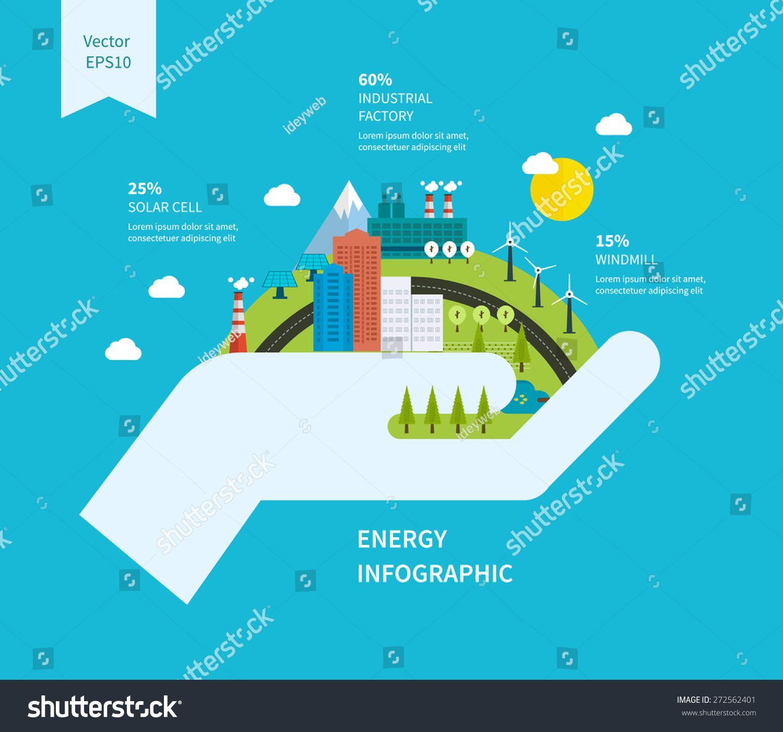 Flat green energy ecology eco clean urban