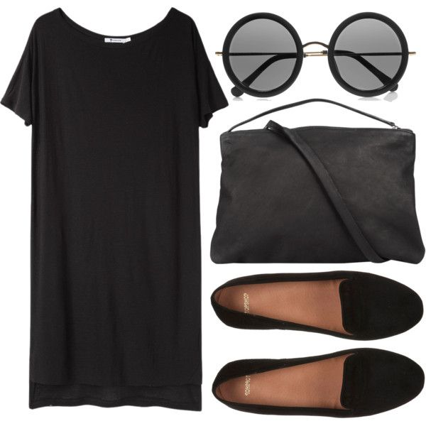 """black"" mood by onanarihanna on Polyvore featuring T By Alexander Wang, Ann Demeulemeester and The Row"