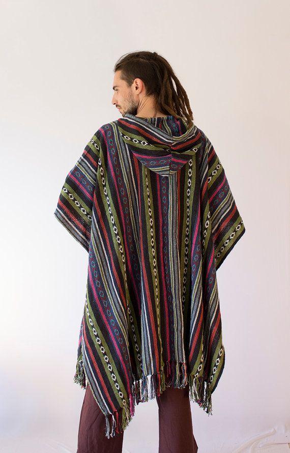 Men's Knit Cotton Long Poncho Hippie Cozy by manaKAmana