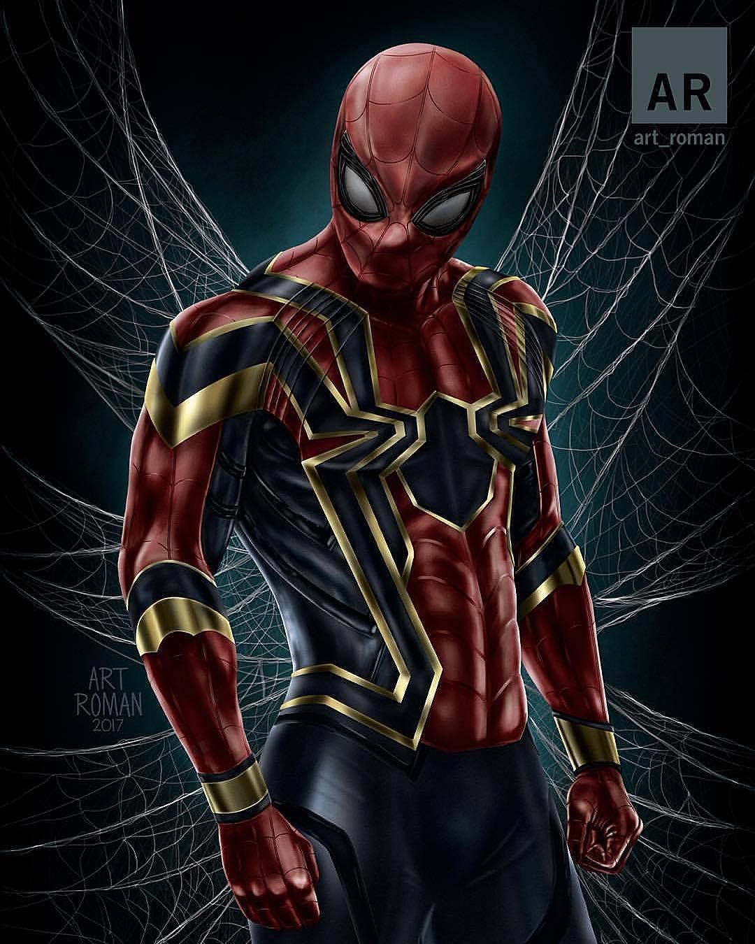 Art Roman With A Beautiful Rendition Of The Iron Spider Man From The