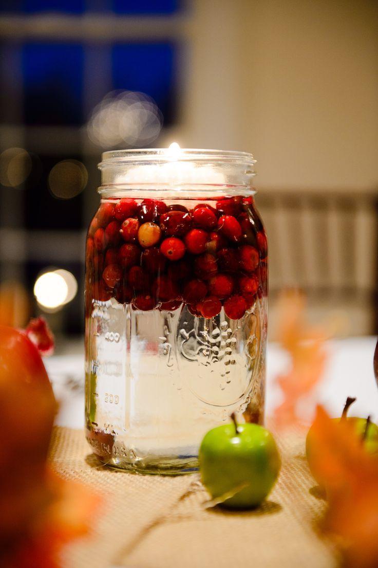 One Of Our Centerpiece Styles Fall Wedding Table Decor Mason Jar