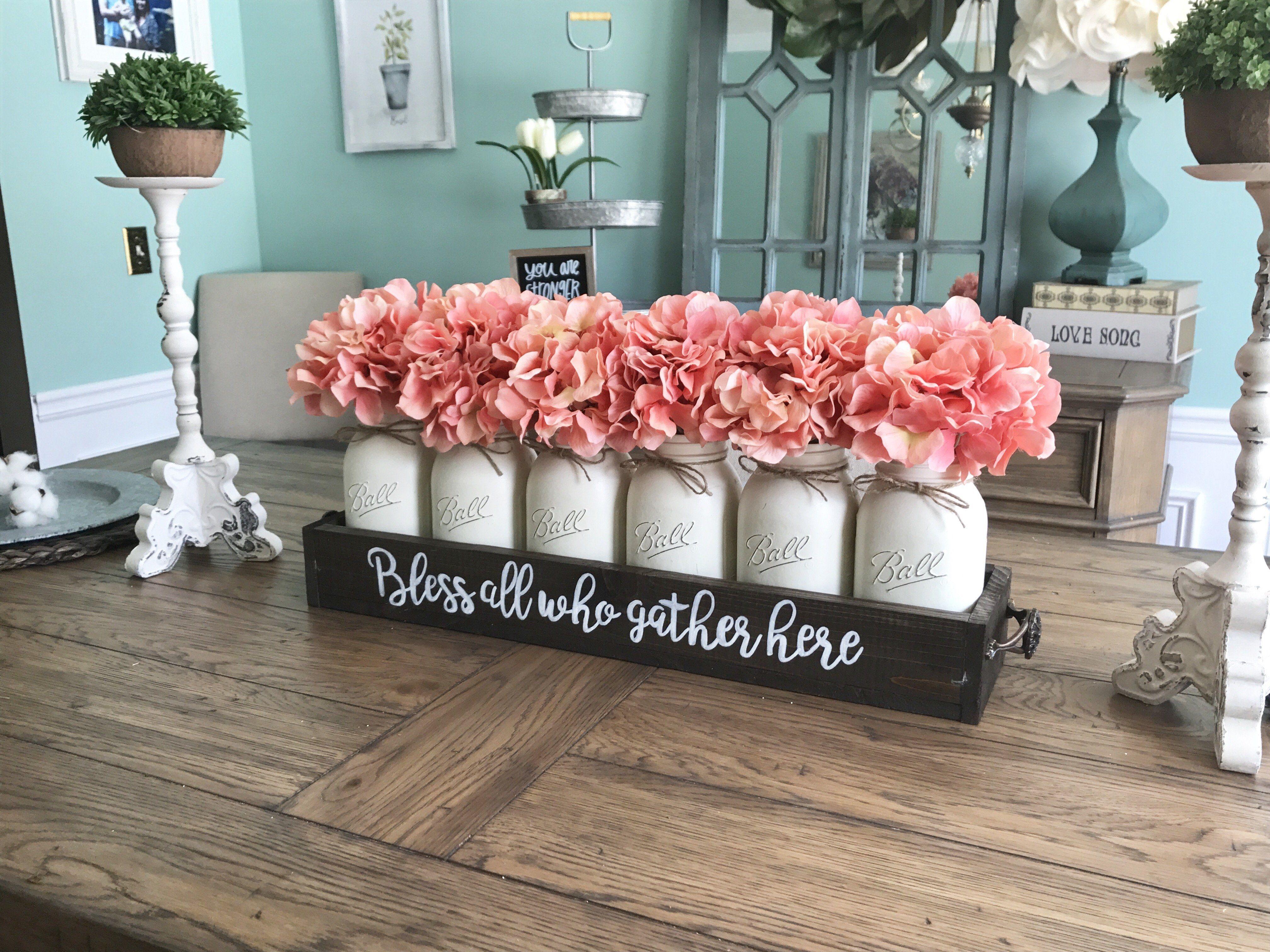 Bless All Who Gather Here Mason Jar Centerpiece Farmhouse Table Centerpieces Table Centerpieces For Home Farmhouse Table Decor