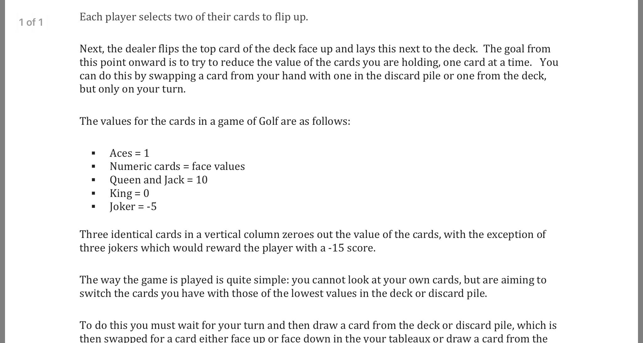 Printable rules for Golf card game Golf card game, Thing