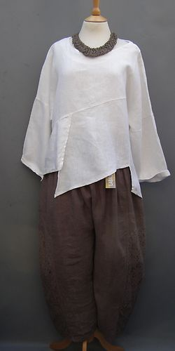 La Bass~ TAUPE ~ Linen & Lace ~ Crop Oversized Trousers~ Sizes 1 &2 &3 | eBay