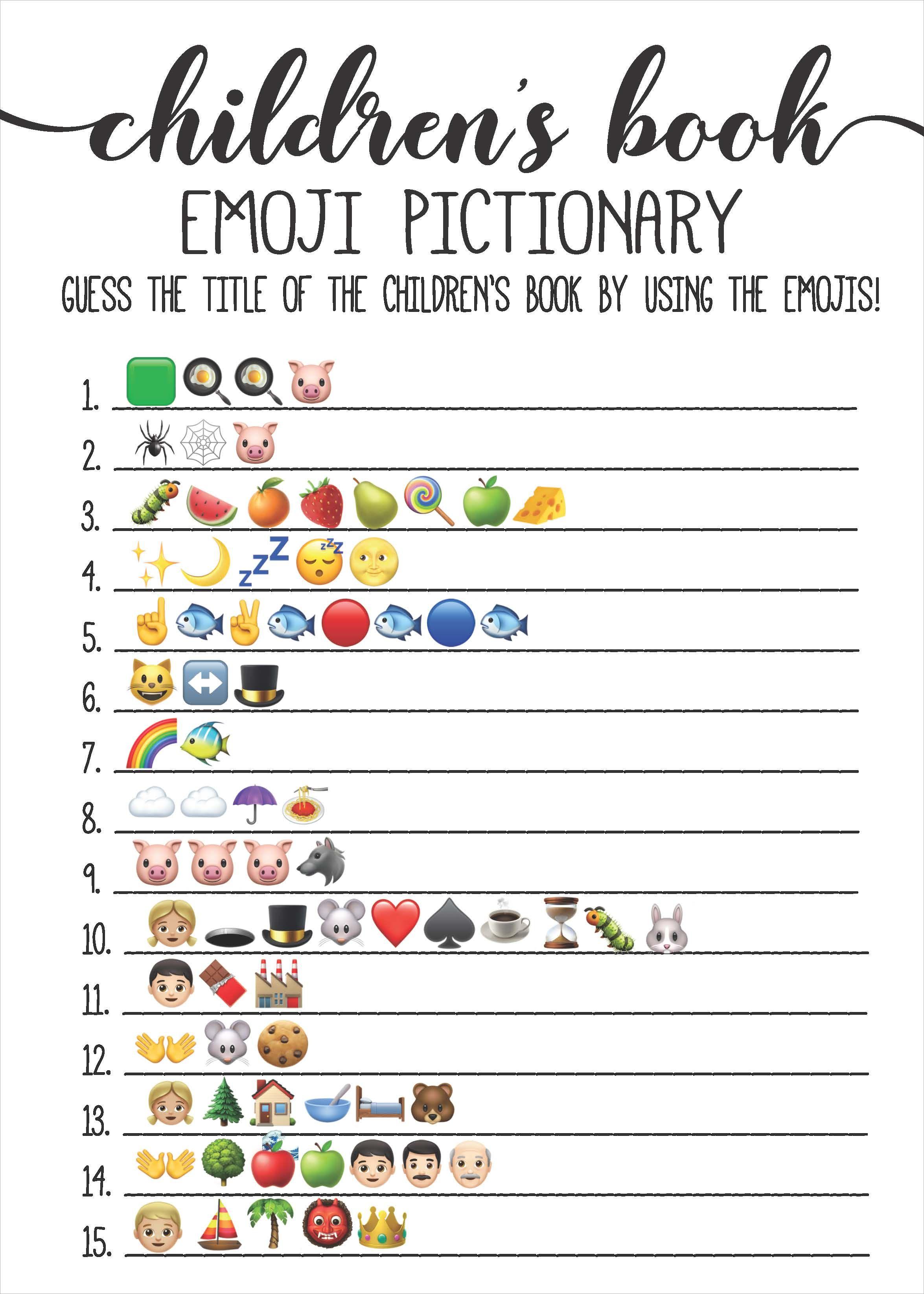 Rustic Kraft Children's Book Emoji Game Template | Taco ...