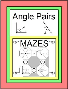 Angles: angle pairs - 2 mazes with two levels of difficulty and 14 ...