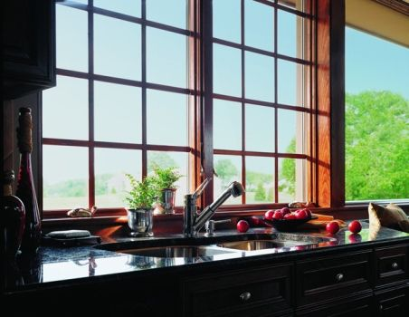 These are the exact kitchen windows.  Casement windows are hinged on the side and open outward to the left or right, allowing you to catch breezes and direct the flow of fresh air into your home. Usually taller than they are wide, their entire sash opens to provide top-to-bottom ventilation. http://www.andersenwindows.com/products/400-series-casement-window/