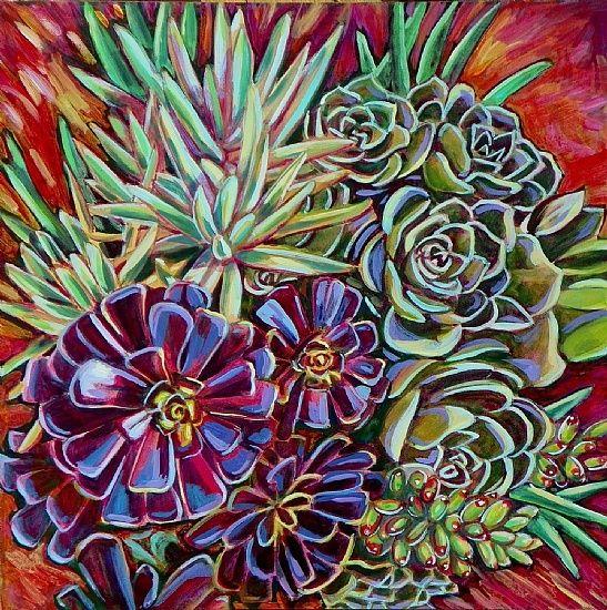 "Pot of Succulents by Linnea Tobias, Acrylic ~ 16"" x 16"""