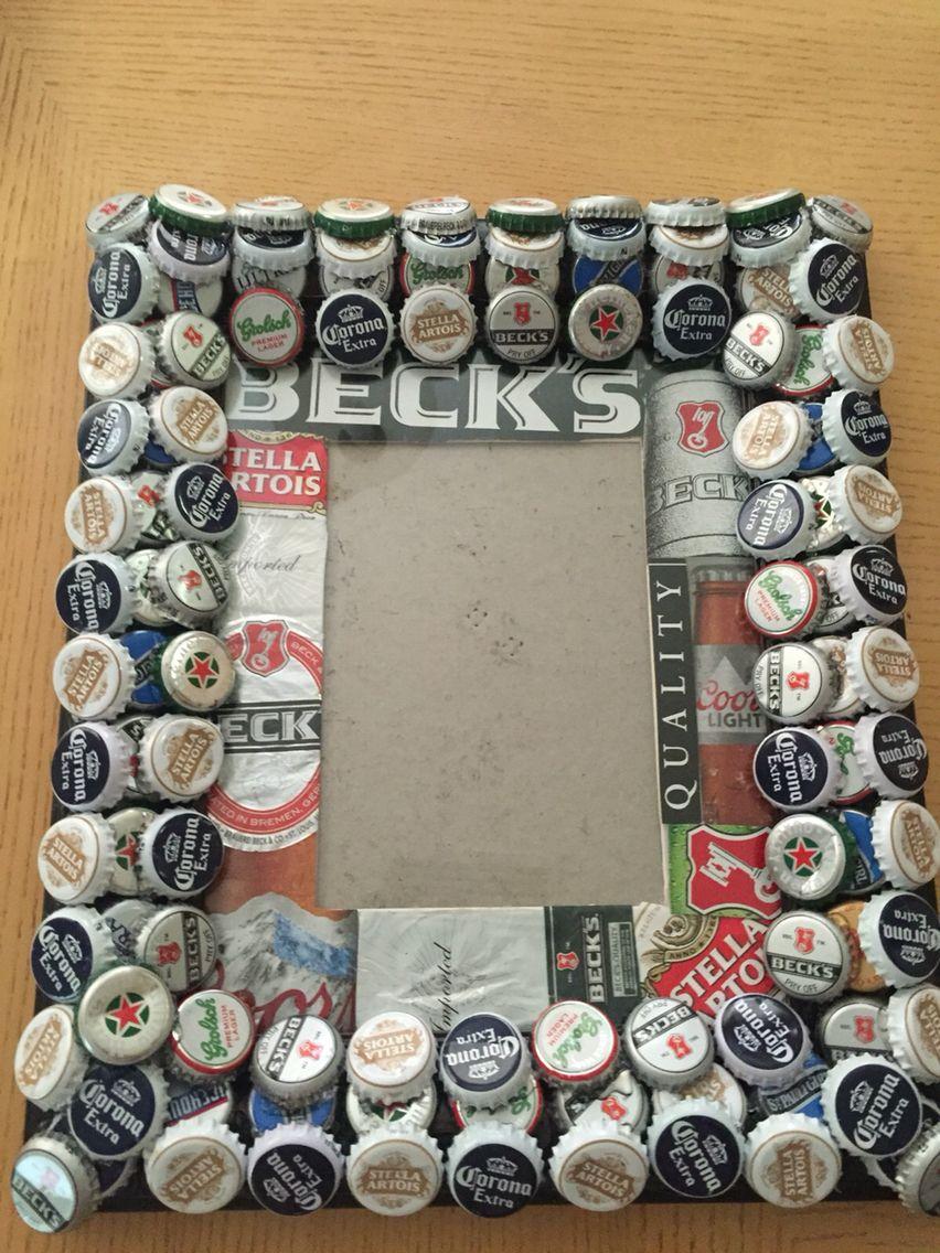 Beer bottle cap frame with matting   Crafts   Pinterest   Beer ...