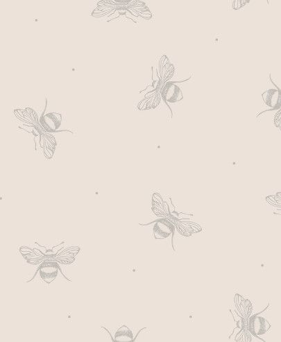 Busy Bees Wallpaper In Grey On White Background Hallway