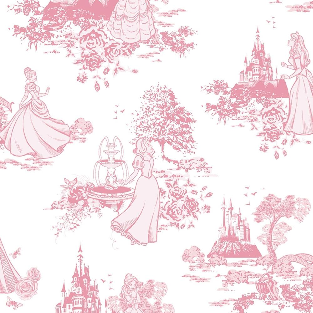 Disney Princess Toile Pink Wallpaper | Girls room | Pinterest ...