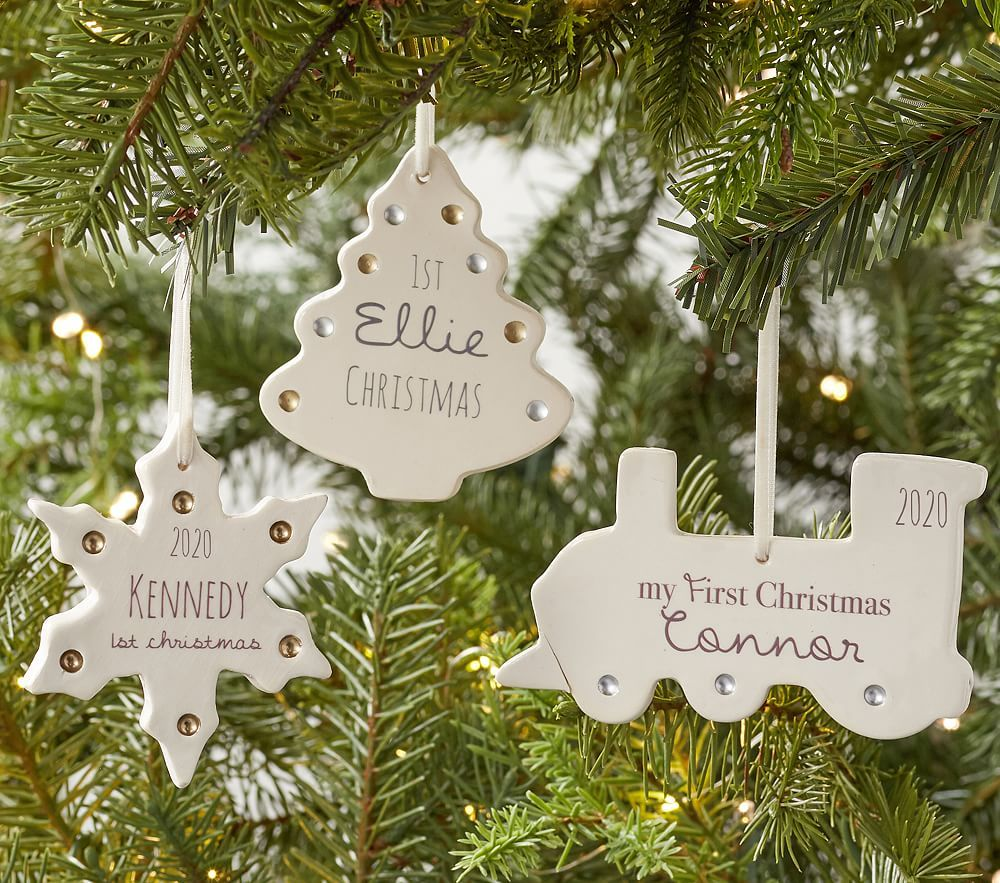 Baby S First Christmas Train Personalized Ceramic Ornament Christmas Ornaments Pottery First Christmas Ornament Baby First Christmas Ornament