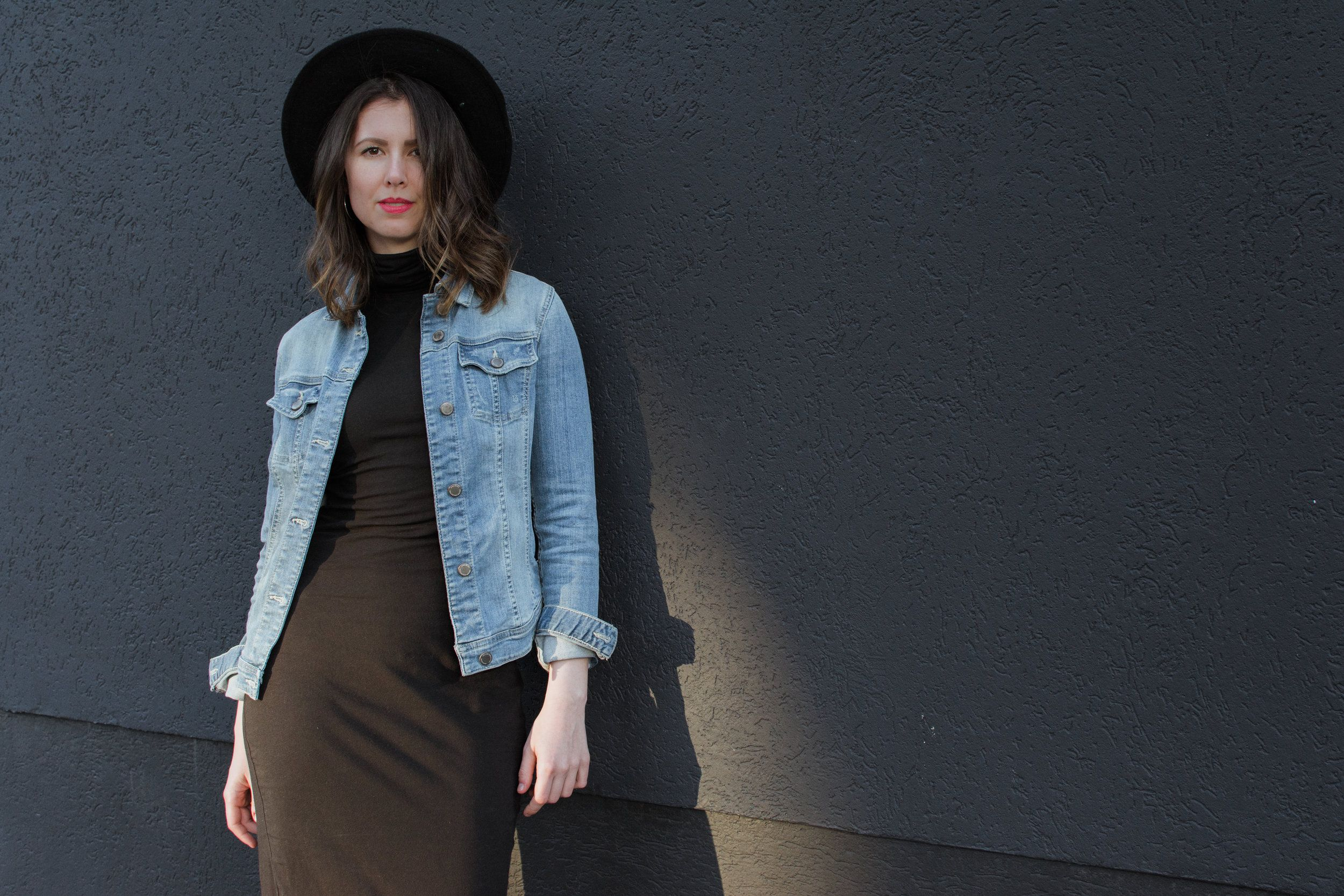 Bodycon dress with denim jacket and pants online