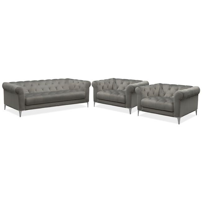 Living Room Furniture David Sofa And Two Cuddler Chairs Set Flannel