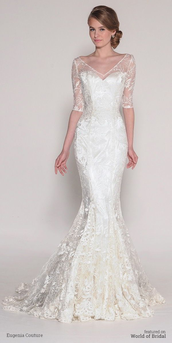 Alecon Lace fit-n-flare with lace gussets in all seams and delicate half sleeves.