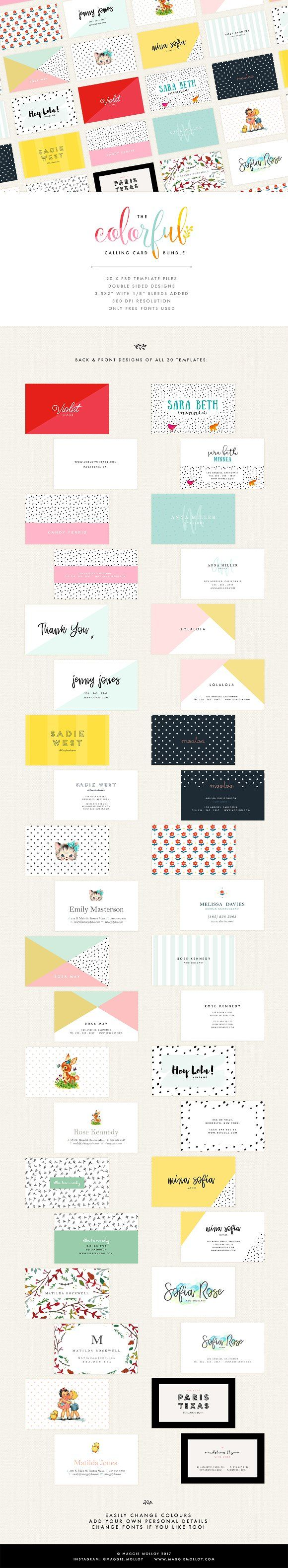 20 Colorful Business Card Templates | Card templates, Business cards ...