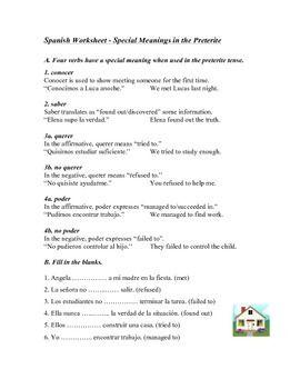 spanish preterite worksheet special verbs conocer saber querer spanish german. Black Bedroom Furniture Sets. Home Design Ideas