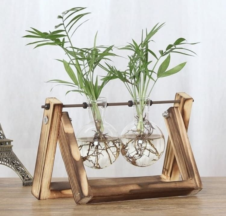Farmhouse Minimalist Vases 4 Wooden Plant Stands Glass Planter