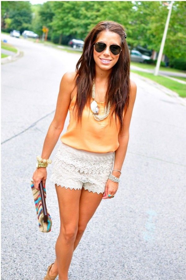 eccb03377c07 lace-ruffle-shorts   My Style   Pinterest   Lace shorts, Summer ...