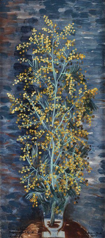 Moïse Kisling (Polish-French, 1891-1953), Bouquet de fleurs, 1944. Oil on canvas, 48 x 22 cm.