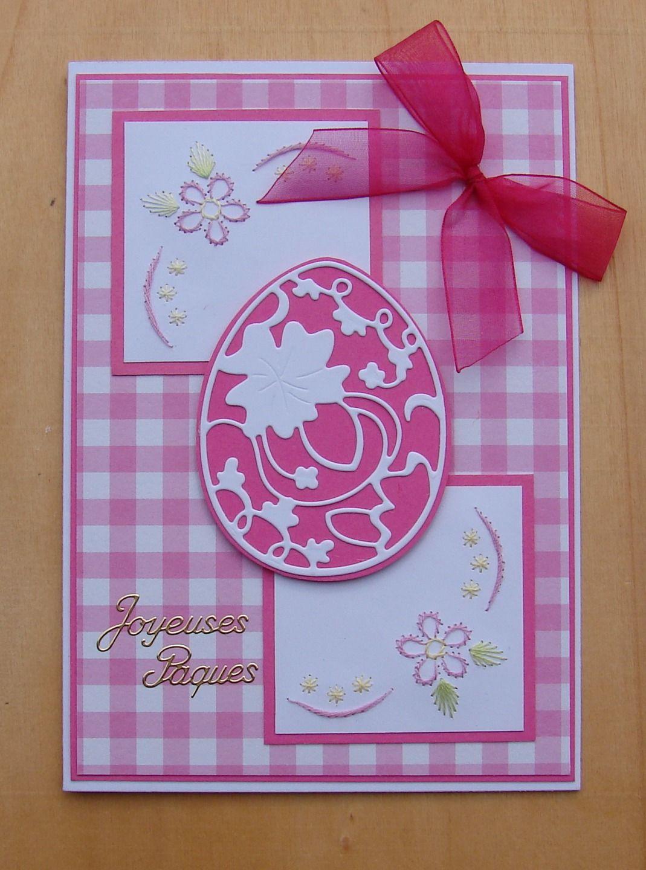 """carte Pâques oeuf dentelle, coins brodés, noeud ruban message """"Joyeuses Pâques"""" : Cartes par cdine08-aux-cartes-de-sandrine"""