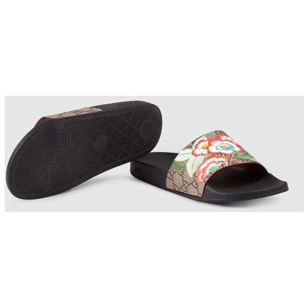 e0ee35bedd38 Gucci Women S Gucci Tian Slide Sandal ( 250) ❤ liked on Polyvore featuring  shoes