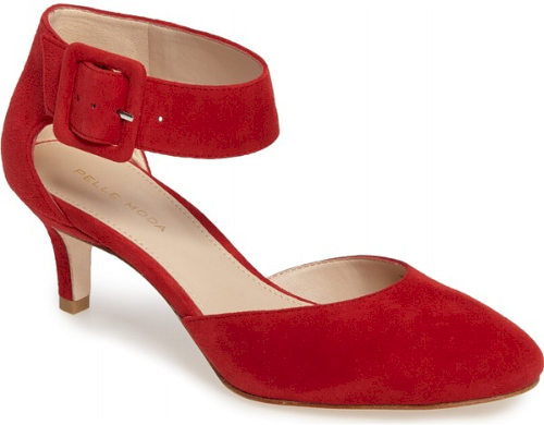 Pelle Moda Ankle Strap Pump In Red A Dainty Kitten Heel Gently Lifts A Sophisticated Suede Pump Secured By A Wide A Ankle Strap Pumps Strap Pumps Ankle Strap