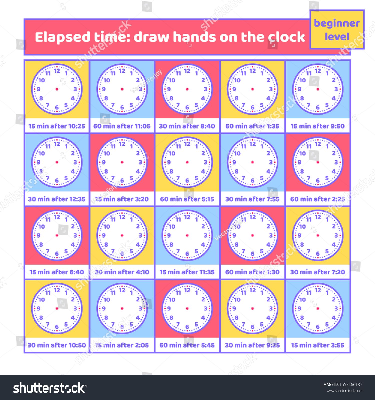 Elapsed Time Draw Hands On The Clock Worksheet For Kids