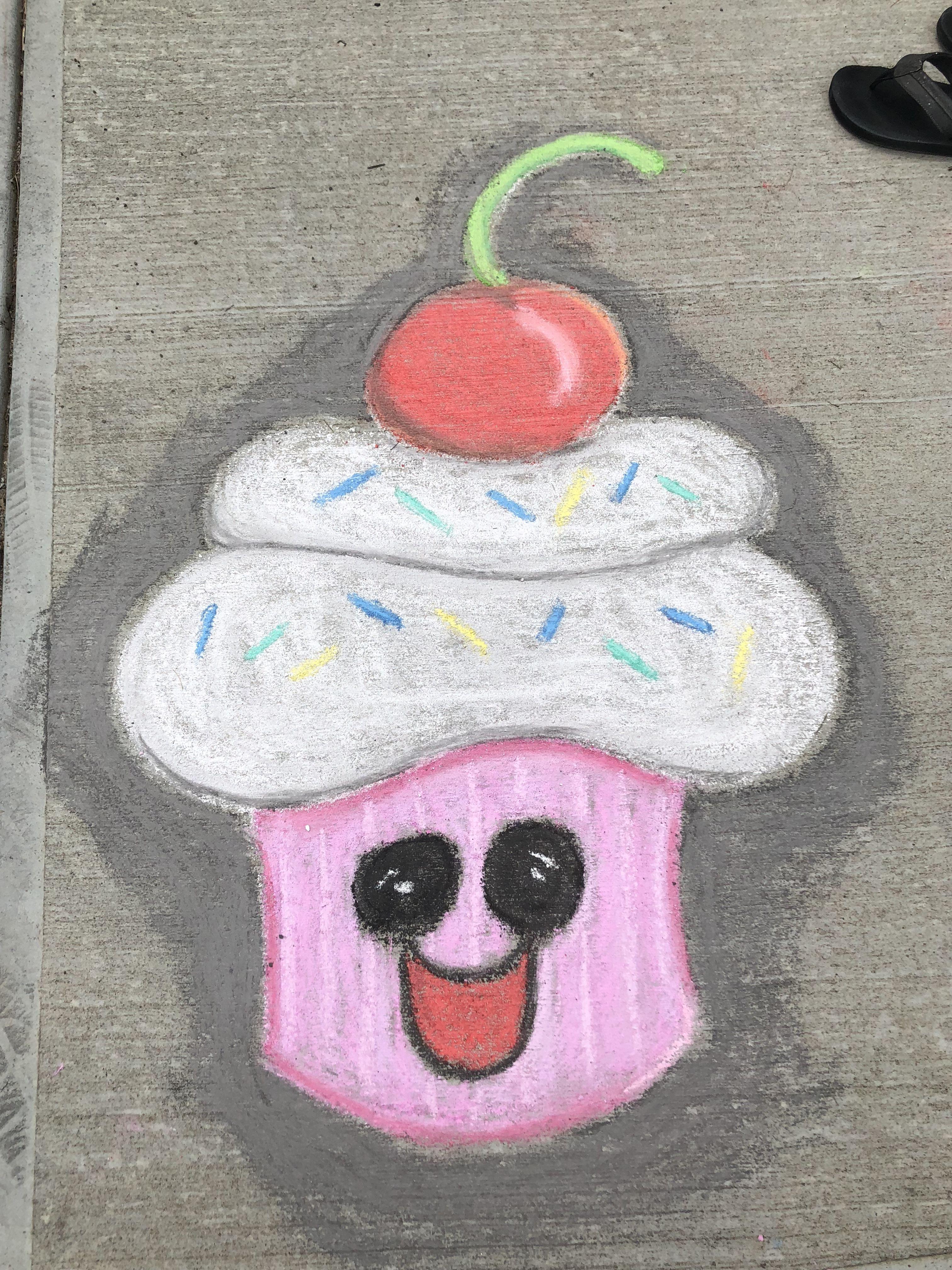 Happy Cupcake Sidewalk Chalk With Images Sidewalk Art