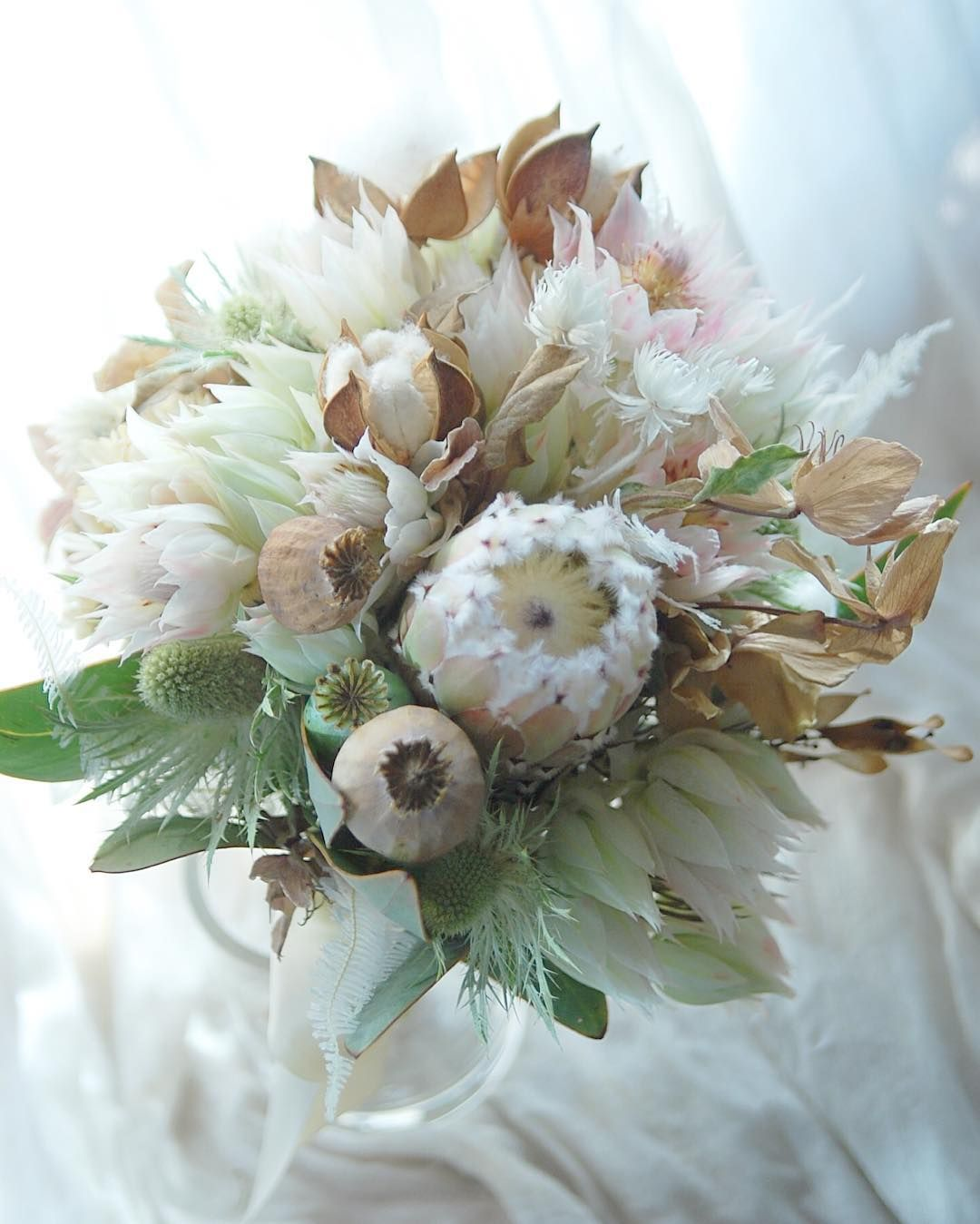 Winter White Bouquet With Blushing Bride Protea Queen Protea