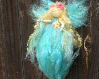 Napping Fairy in the Garden Needle Felted Wall by Nushkie