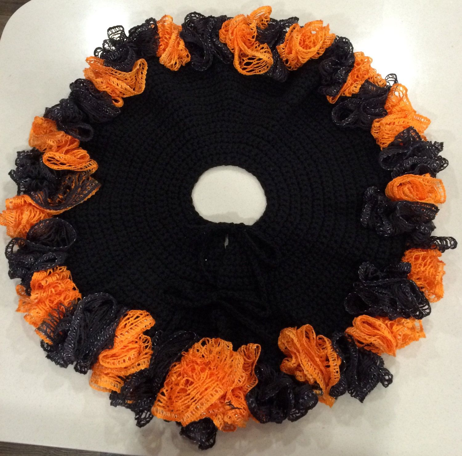 Orange and Black Halloween Tree Skirt by KingCrochetCrafts