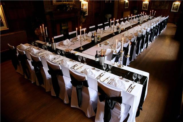 Weddings Chair Covers And Runners In Black At Comlongon Castle Scotland