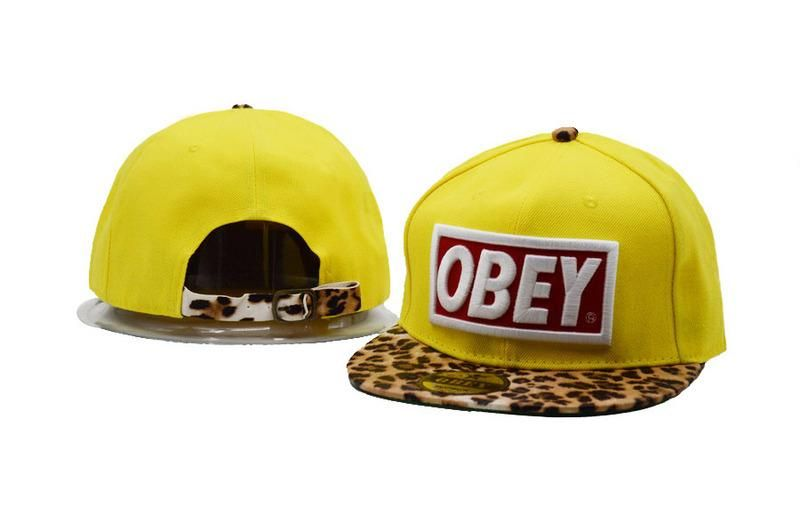 Baseball Hats · Men s Obey Original Box Logo Patch Custom Leopard Print Brim  Snapback Hat - Yellow   Red ebbcda3ec9c1