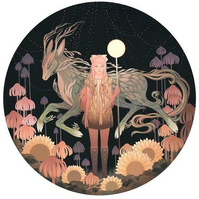 Design. Girl. Deer. Colour. Night.