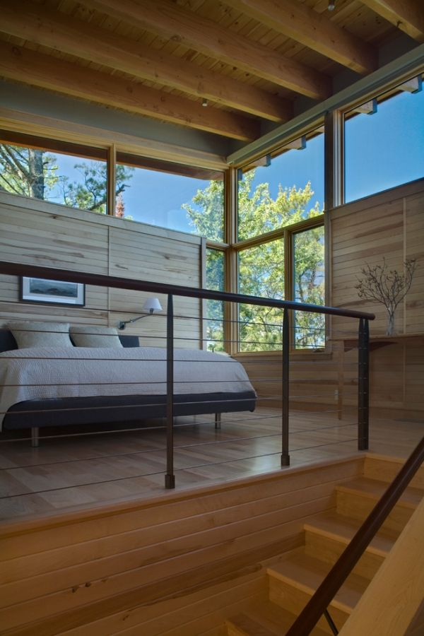 modernes schlafzimmer treppen gelander glas fenster