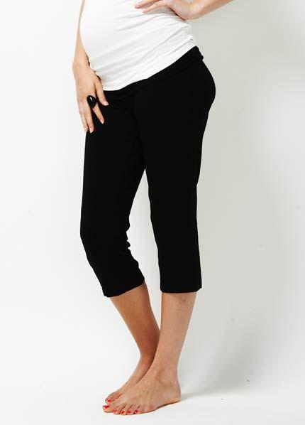 8b4727a6337 Queen Bee Libertine Black Maternity Yoga Capri Pants by Trimester Clothing