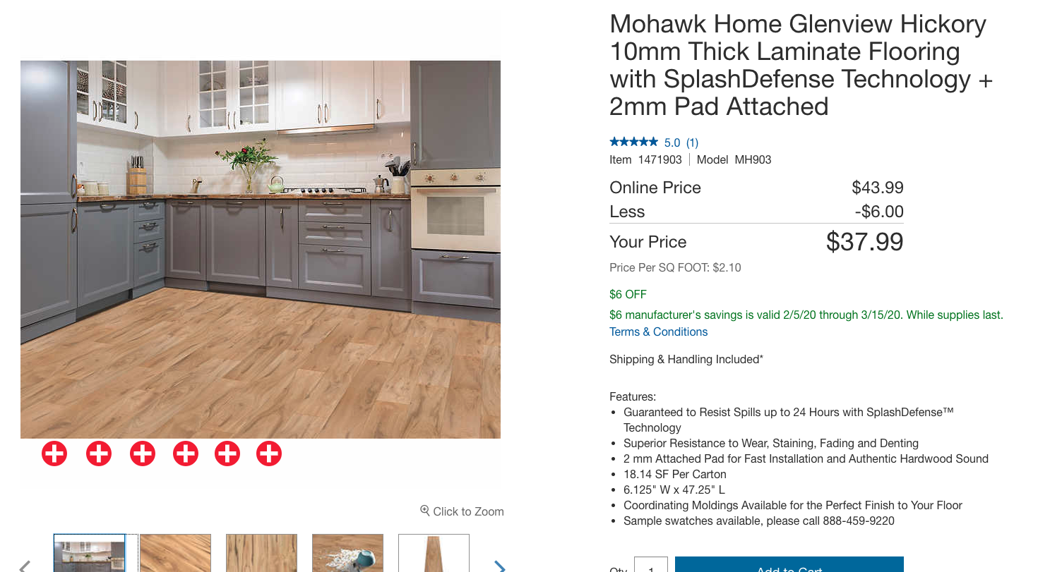 Mohawk Home Glenview Hickory 10mm Thick Laminate Flooring