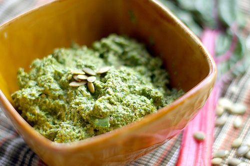 Swiss Chard and Pumpkin Seed Pesto #food #green #vegan #vegetarian