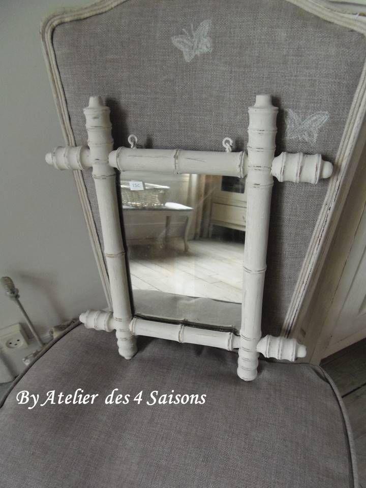 Miroir ancien #patiné gris perle blanc poudré Votre intérieur joue