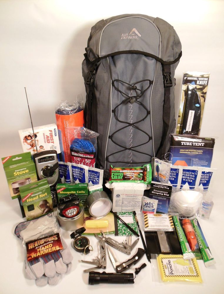Hiking Camping Backpack Stocked With 3 Day Emergency Food Water Survival Gear
